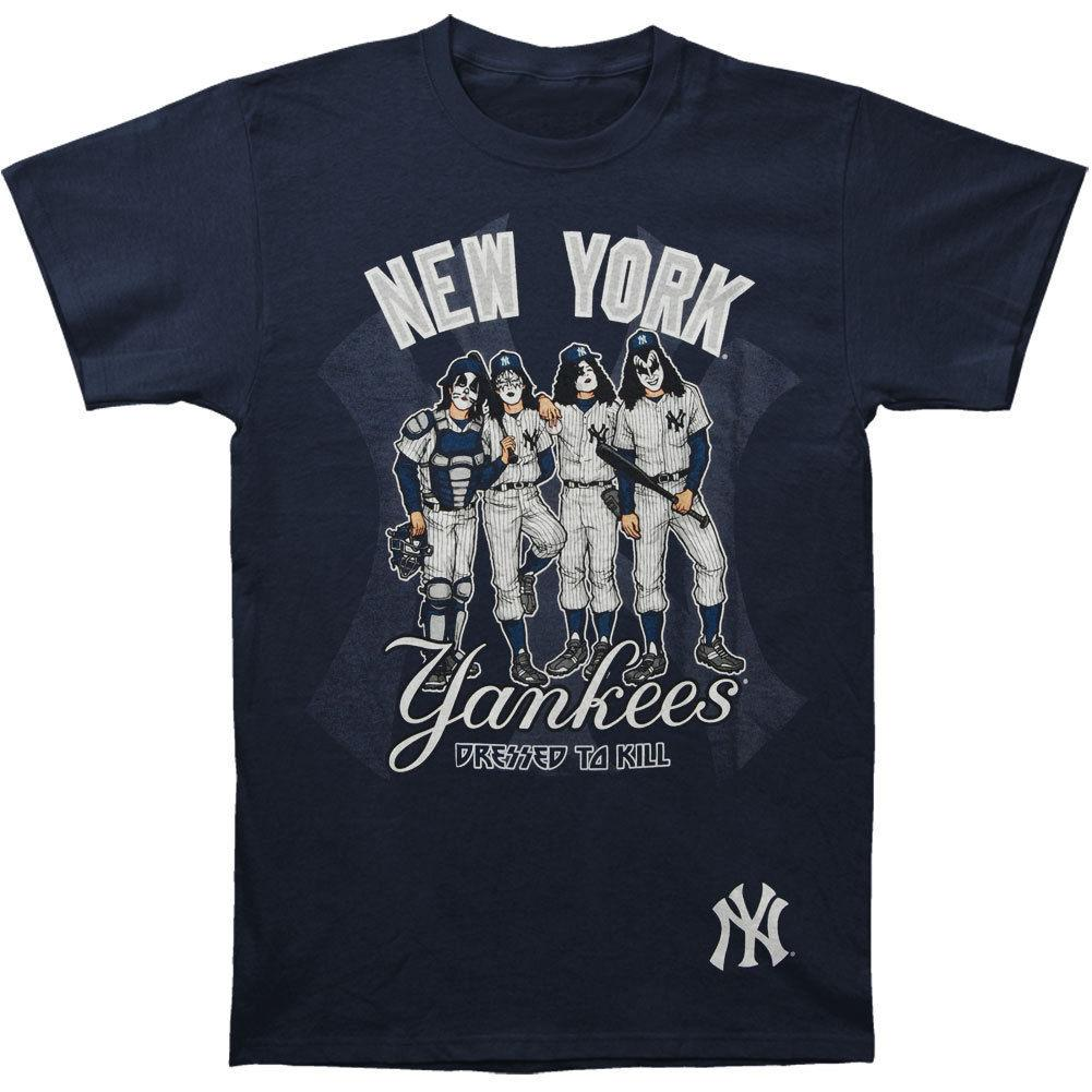 2030daab8efa6 Compre KISS New York Yankees De Los Hombres Vestidos Para Matar La Camiseta  Rockabilia Azul Camisetas Divertidas Camisetas CAMISETA MENS Camiseta  Estampada ...