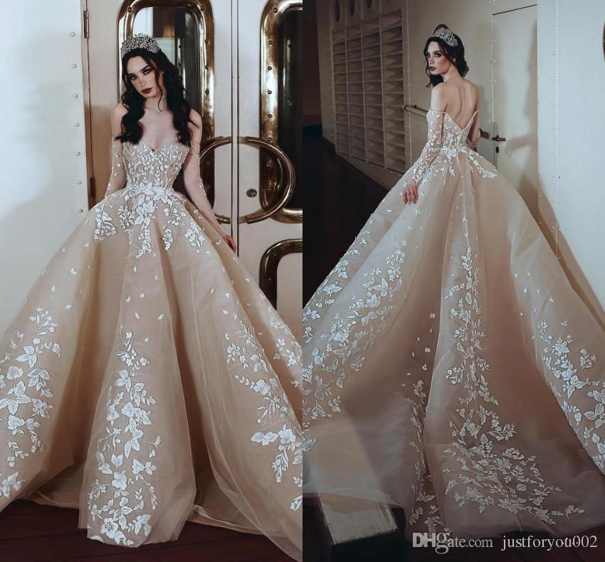 2019 Dubai Arabic Wedding Dresses Lace Appliques Off: 2019 Gorgeous Champagne With White Appliques Arabic Dubai