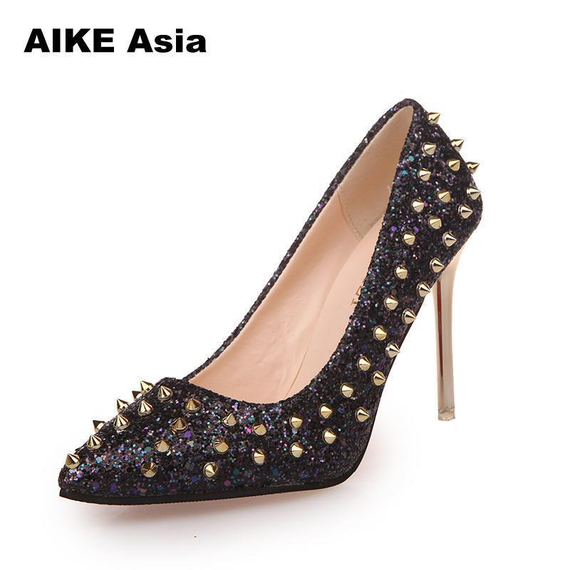 a8cf8080b9 Designer Dress Shoes New Women Pumps Pointed Toe High Heels Luxury Designer  Rivets Wedding Bridal Women'S With Sequined Cloth #805 Womens Sandals  Orthopedic ...