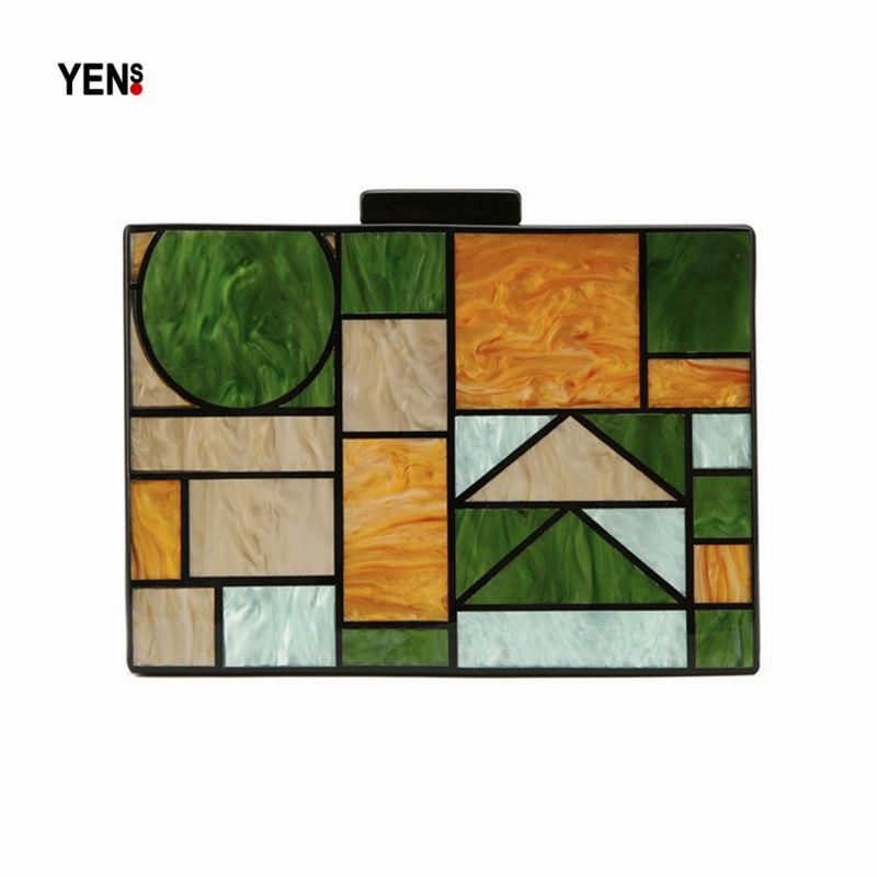 Acrylic Brand Bag Fashion Women Evening Bags Luxury Plaid Patchwork Handbags Geometric Panelled Party Prom Casual Vintage Clutch
