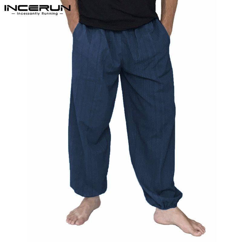 14b088b241 Acquista Pantaloni Sportivi Indiani Pantaloni Uomo Harem Elastico In Vita  Pantaloni Lunghi Larghi In Cotone Pantaloni Uomo Hiphop Gambe Larghe  Pantaloni ...