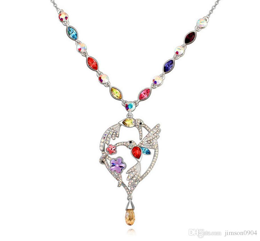 Made in China fashion jewelry Woman Originality Ornaments Using Swarovski Elemental Crystal Necklace Magpie Luxurious Pendant