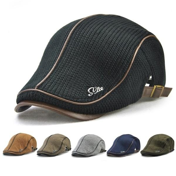 Man's Knitted PU Leather Beret Hat Knitting Buckle Paper Boy Newsboy Cabbie Gentleman Visor Cap Casual Warm