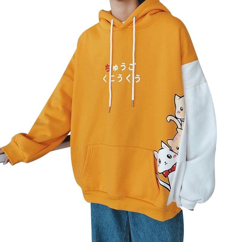 1e8aecdedcaf 2019 Korean Sweatshirt Men Patchwork Color Hoodies Mens Plus Velvet  Harajuku Kawaii Cartoon Cat Kitty Printed Hoodie Top Sudaderas From  Xiatian6