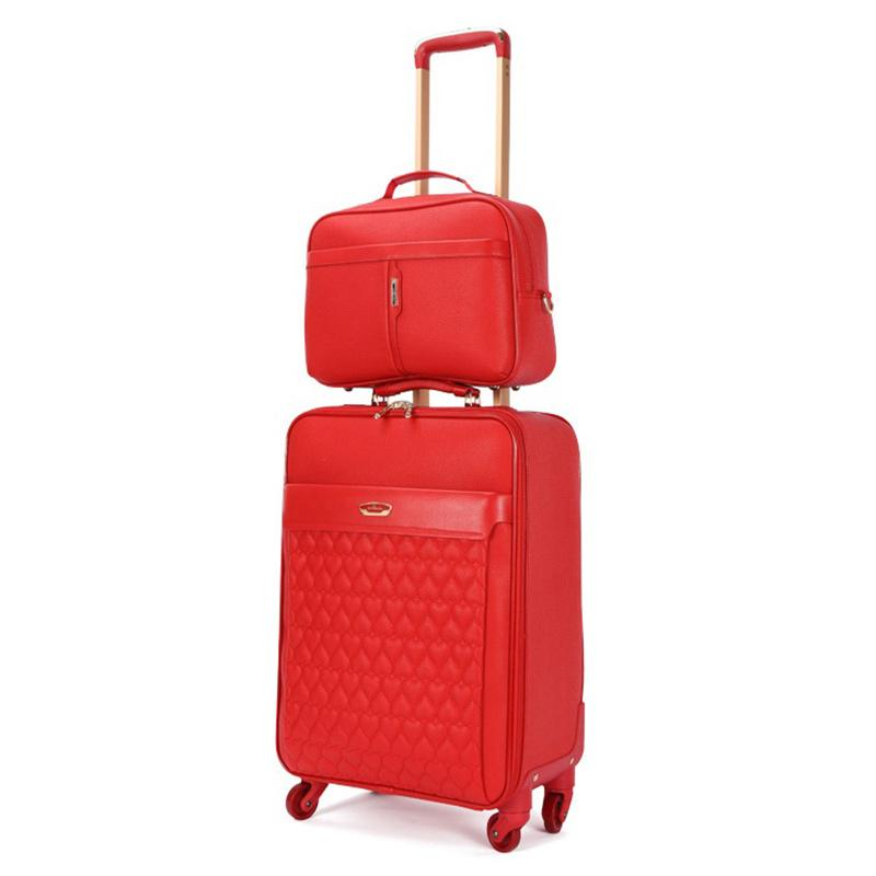 a833ca67fd49 Wedding 2 piece set of suitcase,Handbag Rolling luggage, Stylish Tolley  case,16 /20 Boarding box,Large capacity 22 /24 Trunk