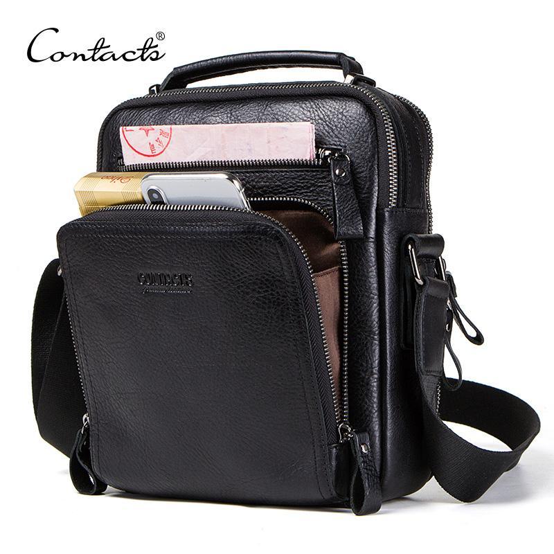 "CONTACT'S 100% genuine leather men shoulder bag crossbody bags for men high quality bolsas fashion messenger bag for 9.7"" Ipad"
