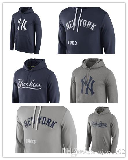 the latest d5054 0b7d7 Men's New Hoodie Sweater New York Yankees Royal Logo Performance Pullover  Hoodie