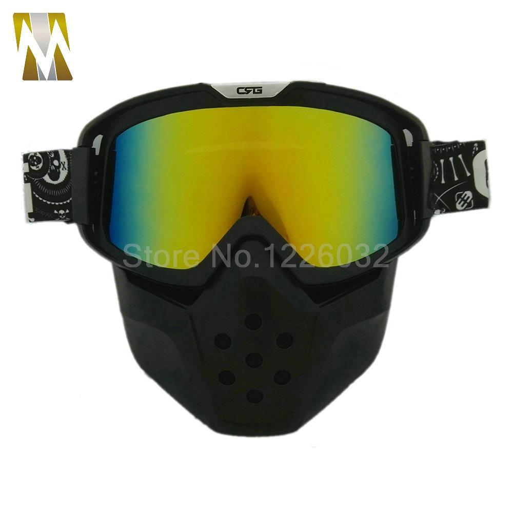 2c5e5953e03b7 Compre 2017 NOVA Máscara De Motocross Óculos De Proteção Capacete Da  Motocicleta Destacável Esporte Goggle Modular Face Máscara De Poeira Boca  Filtro Muti ...