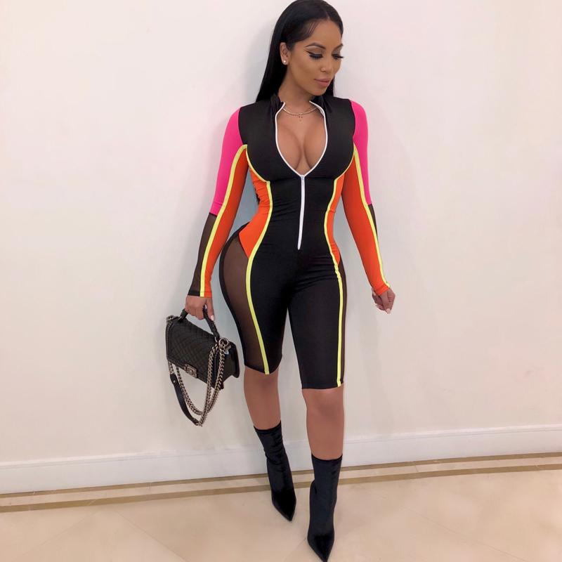 Vintage Sexy Summer Overalls For Women Playsuit Mesh Striped Bandage Rompers Womens Jumpsuit Elegant Bodycon Plus Size Bodysuit