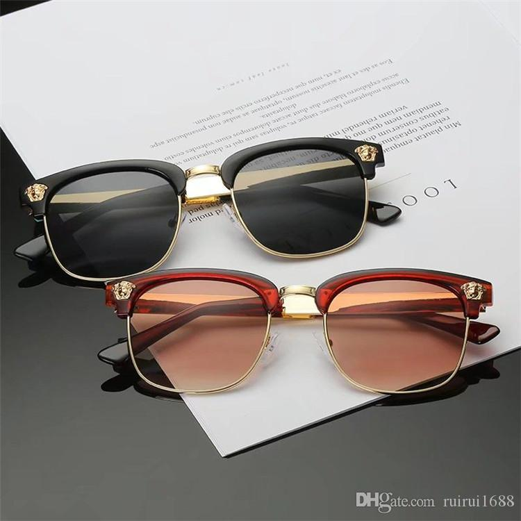 New Fashion Brand Designer eyewear Large Metal Sun Glasses For Men Women Glass Lenses UV Protection 290 Sunglasses
