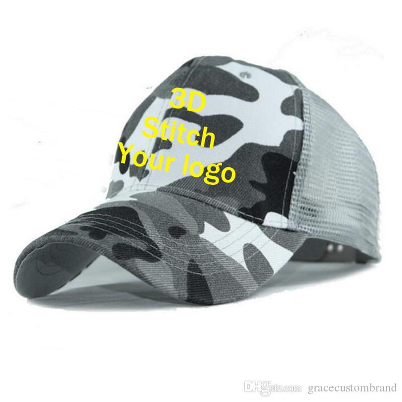 bb3dccfe872 Factory Camouflage Travel Caps Customlized Adult Kids Camo Trucker Net Caps  Men Army Green Summer Mesh Snapback Custom 3D Embroidery Boy Basecaps Hats  For ...