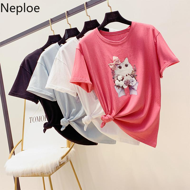 909d2fda Neploe Summer Korean Bottom Shirt Cartoon Cat Printed Short Sleeved T Shirt  Loose Lovely Bow Tie Patchwork Tops Shirts 52448 Fun Tee Daily Tee Shirts  From ...