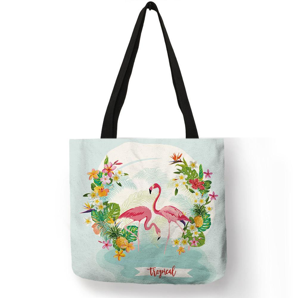 7ef26c945 Compre Excelente Diseño Tropical Bonito Bolso De Mano Durable Eco Lino Bolso  Flamingo Impresión Viajes Bolsas De Playa Bolsa Feminina A $22.5 Del  Packbest02 ...