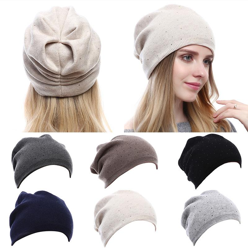 Compre Las Mujeres De Punto Gorros Sombrero Rhinestones Decoración ...