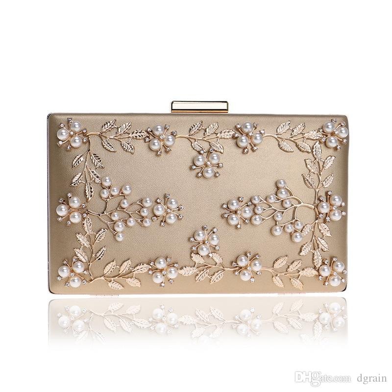 46e46b5963b Women PU Evening Clutches Bags 2019 Gold Wedding Clutches Floral Bridal  Handbags Party Cocktail Purses Designer Evening Diamond Clutches
