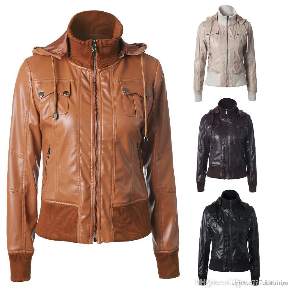 Womens Leather Jackets Zipper Motorcycle Jackets Female Faux Leather ... 267bd698287