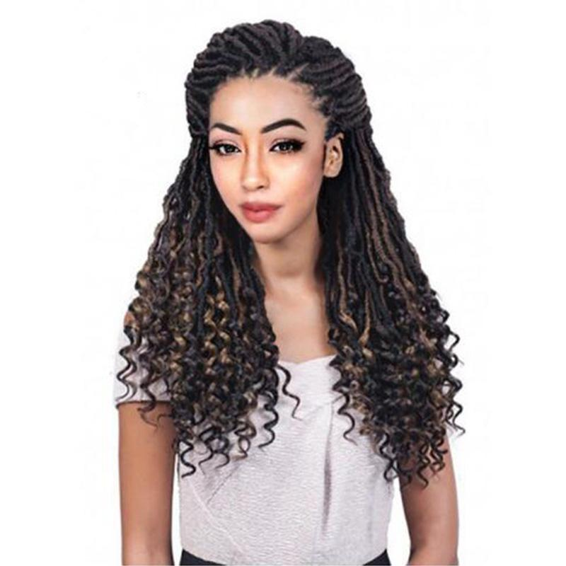 29dcf7b91e040 2019 Hot Selling! Ombre Brown Bohemian Goddess Faux Locs Curly ...