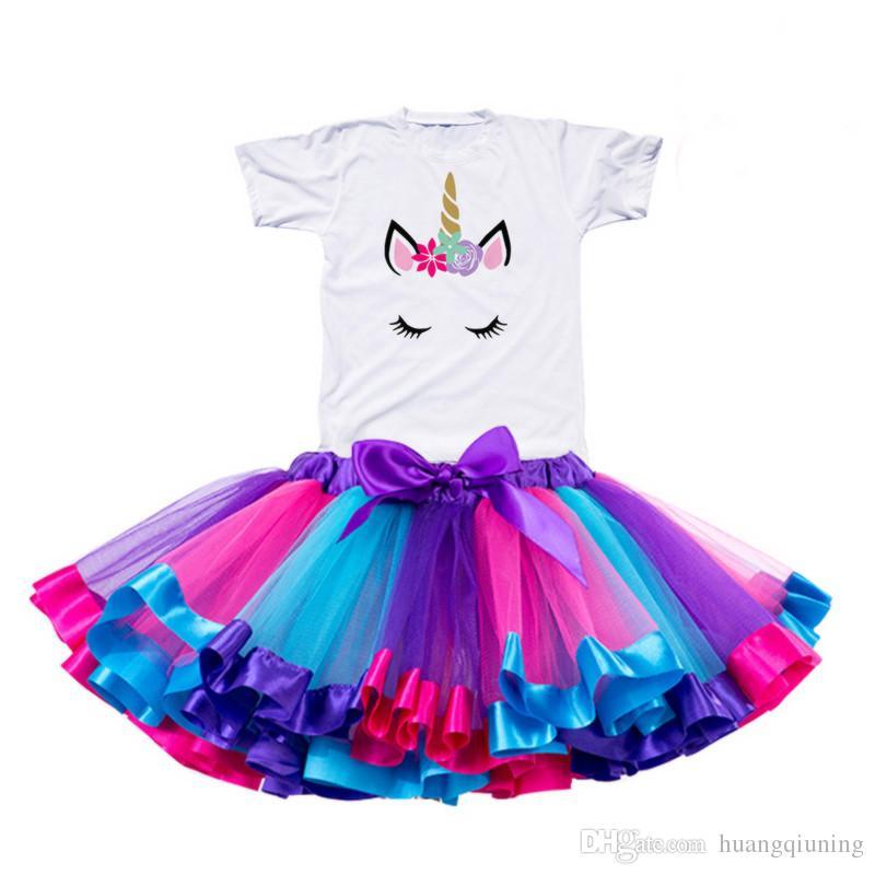 6f19757c976d5 Acheter 2019 Fille Licorne Tutu Robe Arc En Ciel Princesse Filles Party  Dress Toddler Bébé 1 À 8 Ans D anniversaire Tenue Enfants Enfants Vêtements  De ...
