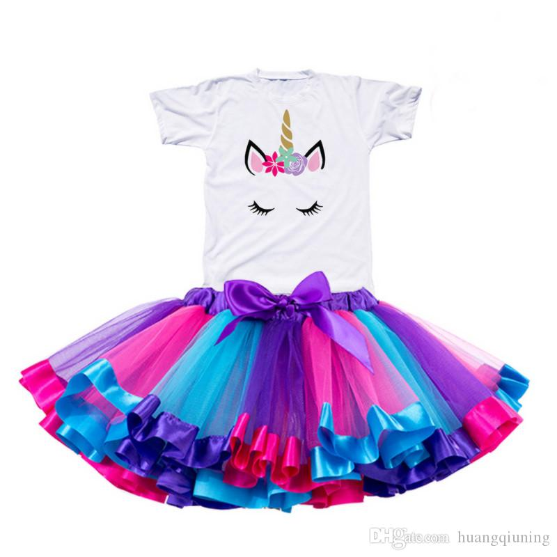 2019 Girl Unicorn Tutu Dress Rainbow Princess Girls Party Dress Toddler Baby da 1 a 8 anni Birthday Outfits Bambini Abbigliamento per bambini