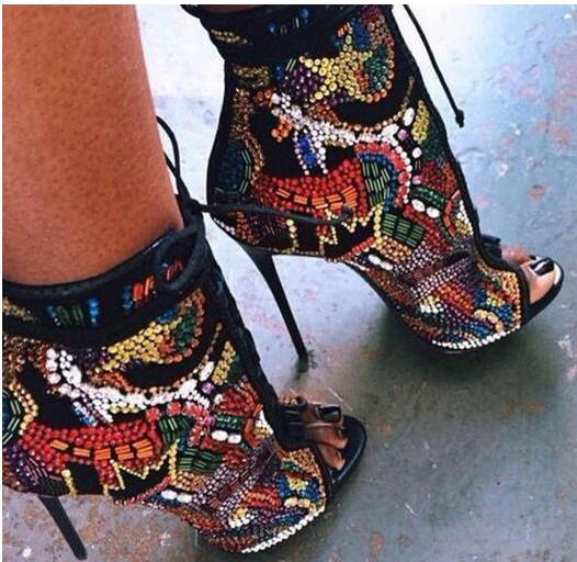 025592fd4165a Multicolor Summer Crystal Covered Comic Open Toe Lace Up High Heel ...
