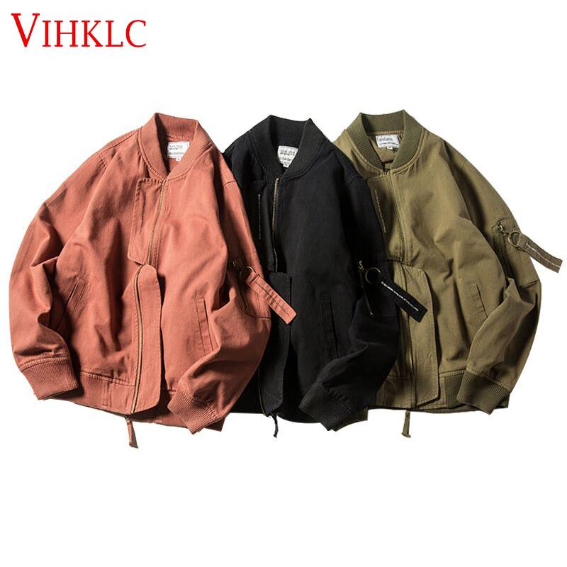 78510cfc2 2019 New Spring Autumn Coat Retro Korean Loose Black Green Pilot Outwear  Female New Pocket Zipper Bomber Jackets Women C497