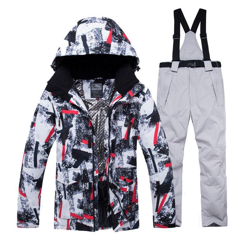 133f86fce Jacket + Strap Pant Sets Men s Snow Suit Outdoor Sports Clothing ...
