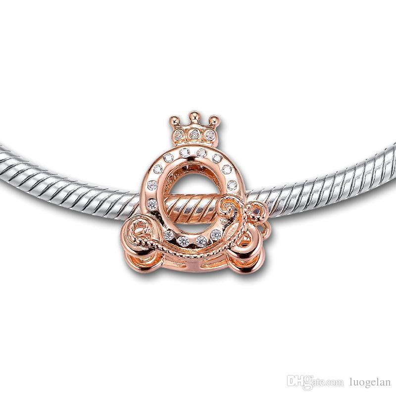 2019 Gioielli in argento sterling 925 originale corona auto perline rosa adatta collana di bracciali con ciondolo Pandora donna