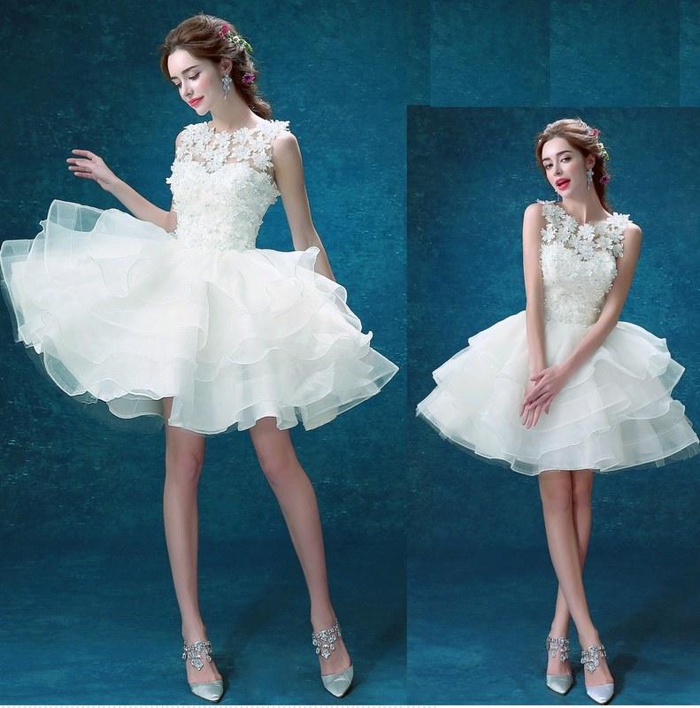390642098e202 Acheter Nouveau Dernières Blanc Robe De Demoiselle D honneur Courte ...