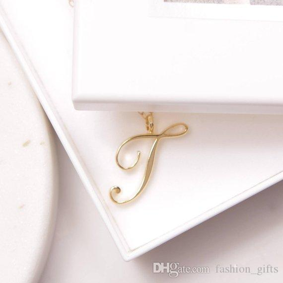 1pcs Cursive English Initial Alphabet T English Necklace tiny English word Initial Letter T monogram charm Metal Engagement necklace jewelry