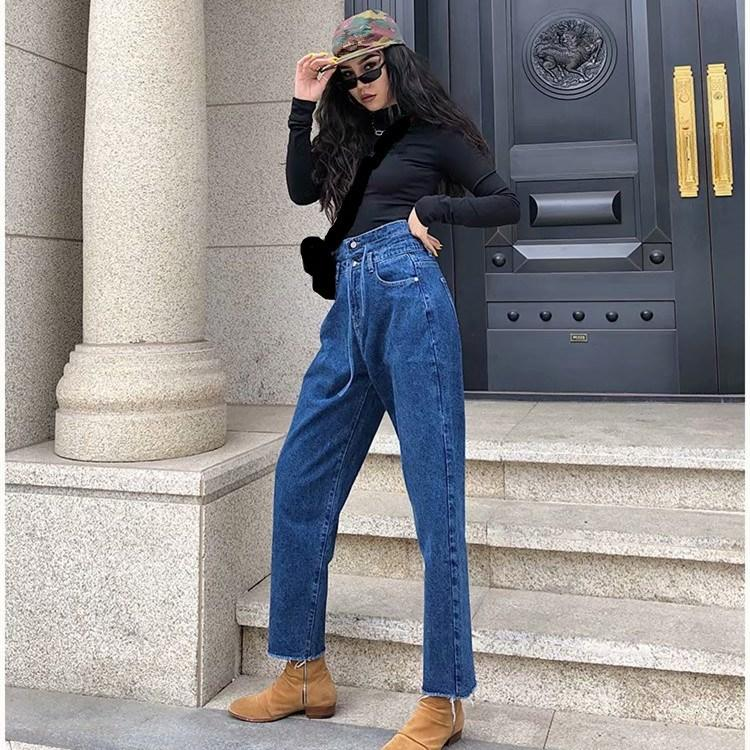 Hot Sale 2019 New Retro High Waist Wide Leg Jeans Women Spring Fashion Pockets Burr Denim Pants Casual Loose Trousers Jeans