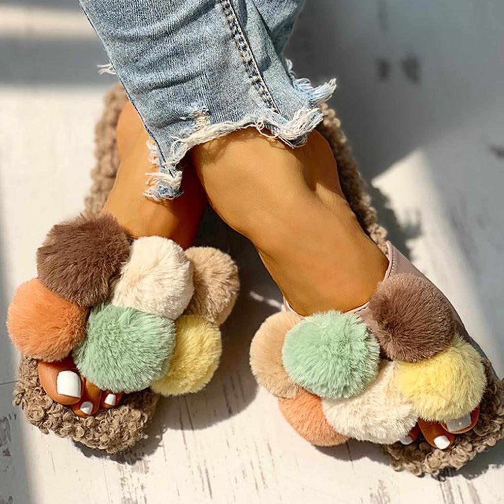 Women Cute Cotton Short Plush Flat Slippers Girls Casual Open-toe Shoes Loafers Ladies Slipper Summer Wild Beach Shoes Slippers
