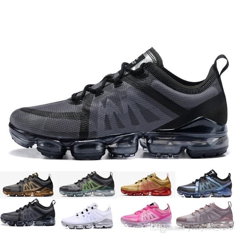 Nike air max vapormax 2019 New Run verano Hombres Mujeres malla zapatillas de moda baratos baratos Negro Blanco Azul Oro Ligero transpirable