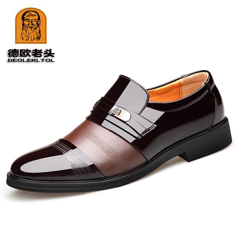 Klassische Echtes Schwarz Schuh Kleid Büro Für Formelle Herren Leder Schuhe Deolerltol Braun Mikrofaser Party m0Nv8nw