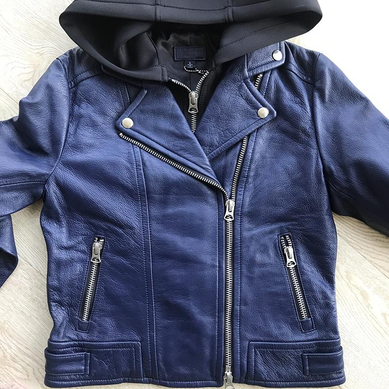 Women's genuine sheepskin cow leather coat with a hood hat ladies female motorcycle short jacket black blue plus size xxxl 3xl