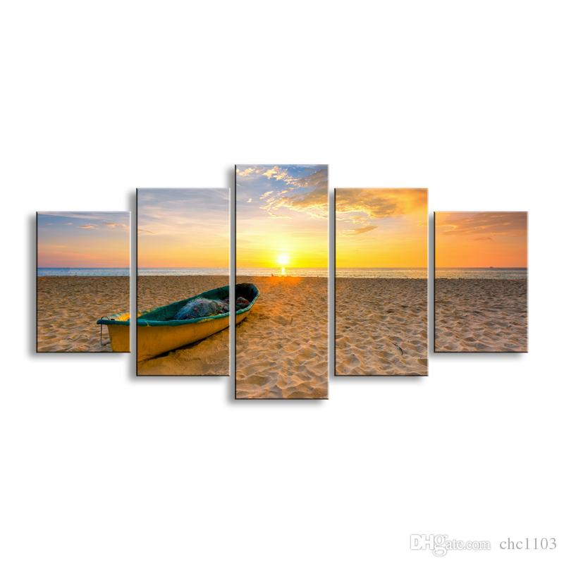 5 pieces high-definition print Sunrises and sunsets canvas prints painting poster and wall art living room picture RCRL5-006