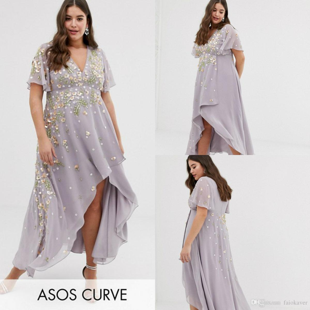 790afa0daab58 2019 Plus Size Prom Dresses A Line V Neck Lace Appliqued Short Sleeve Ankle  Length Cocktail Dress Custom Made Evening Gowns Formal Prom Dresses Glitter  Prom ...