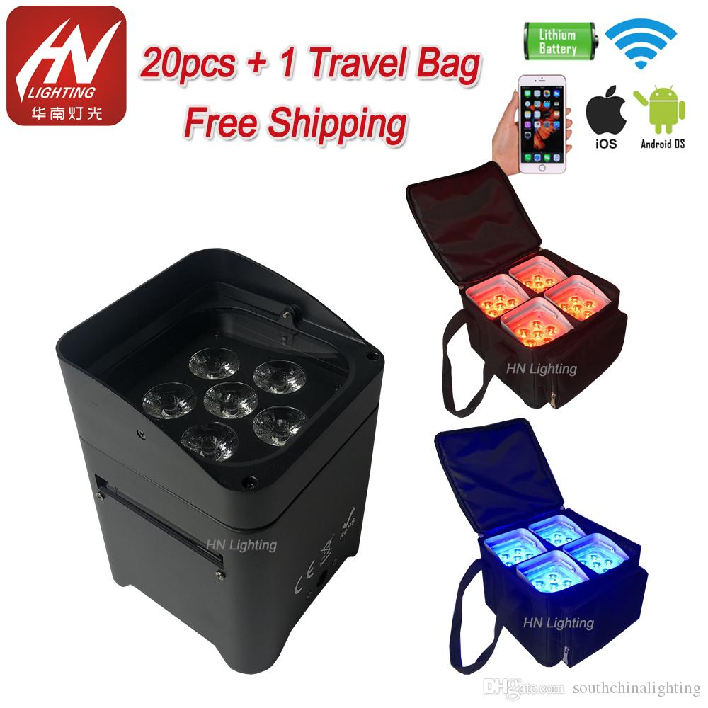 20pcs with bag Smart Phone APP uplighting Wireless Control Mini LED Rechargeable Battery Uplights with outdoor Uplighting rain cover
