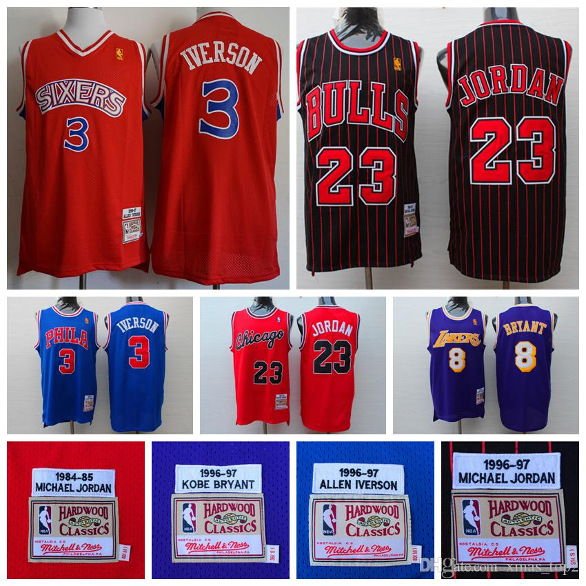 wholesale dealer c1295 d8049 2019 Mitchell & Ness Retro Basketball Jersey 3 Allen Iverson 23 Michael JD  8 Kobe Bryant Jerseys Stitched Embroidery Hardwood Classics Mesh