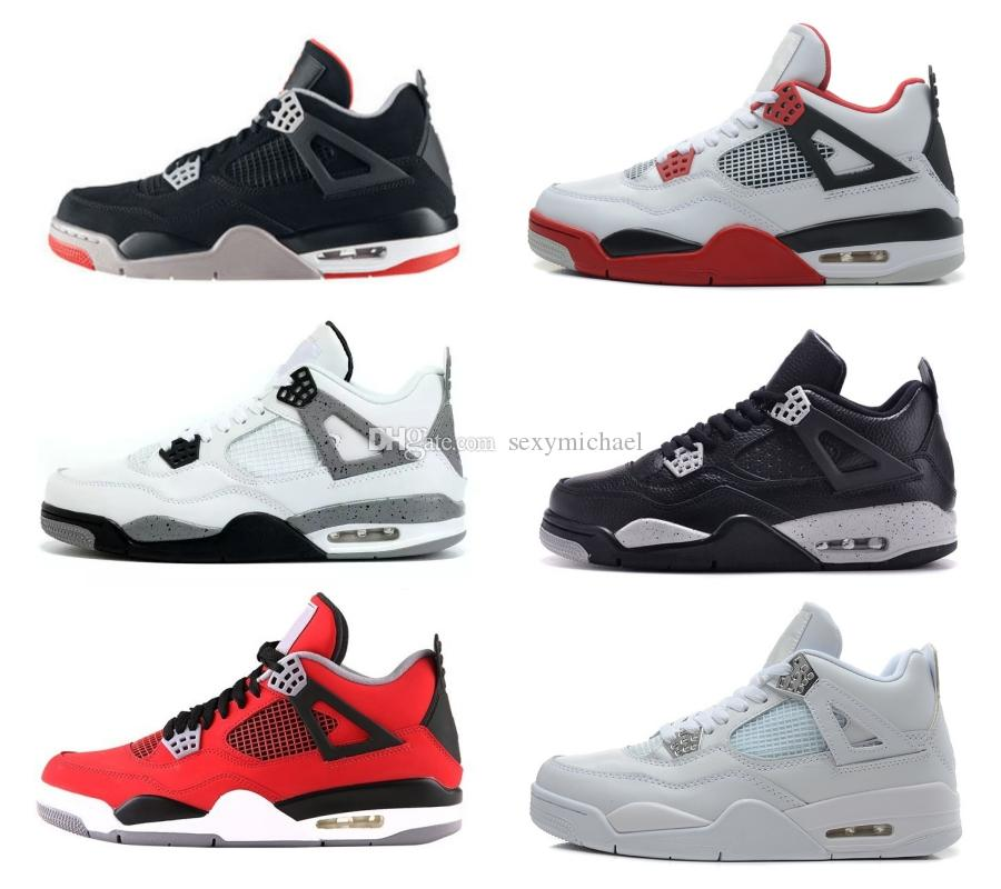 4776f2500c90 4 Bred Fire Red Basketball Shoes Pure Money Motorsport Oreo White Cement  Military Blue Black Cat Thunder Men Women Sneakers With Box Mens Shoes  Sneakers ...