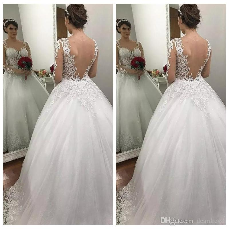 2019 Ball Gown Sequin Wedding Dresses See Through Back
