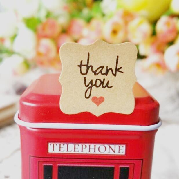 "1200pcs ""Thank you with red heart""kraft paper seal stickers for handmade products DIY packaging label Adhesive Sticker"