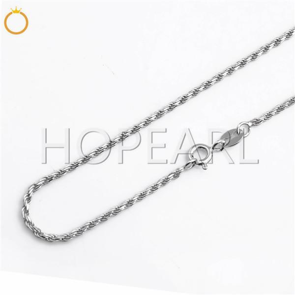 HOPEARL Jewelry Classic 925 Sterling Silver Rope Chain Necklace Solid 925 Silver 1.6mm Twist Rope 2 Pieces
