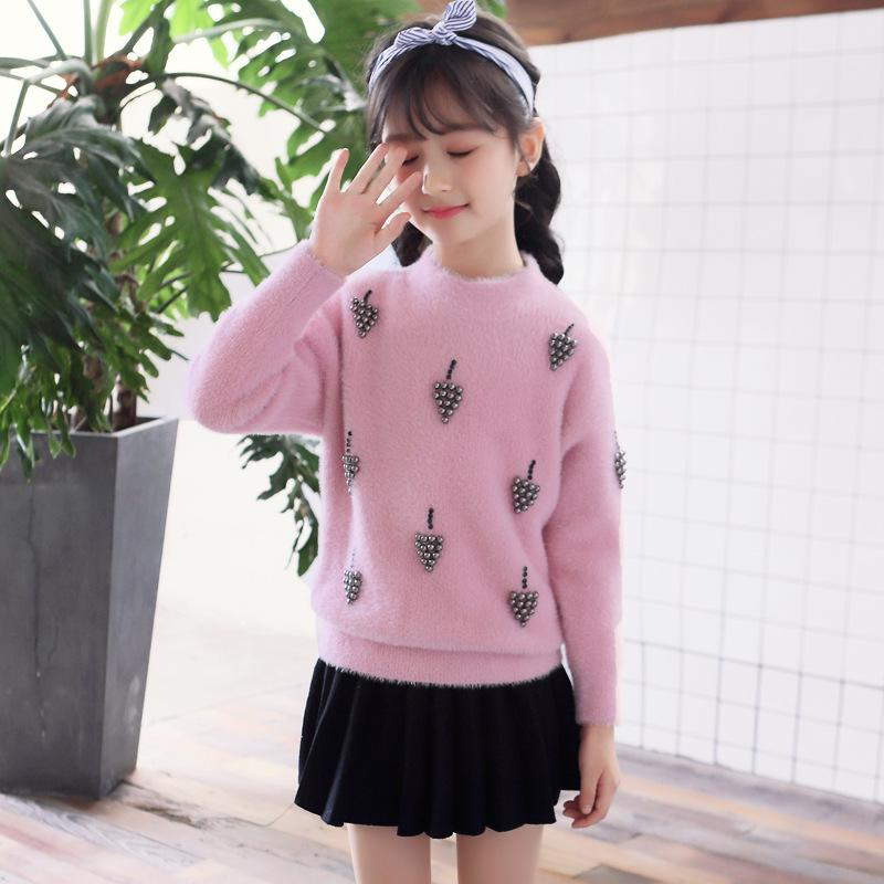 Fashion Kids Sweater For Girls 4 6 8 10 12 To 14 Years O Neck New White  Knitted Sweater Girls Thickened Tops Kids Clothing 56A3A Knitting Sweater  Patterns