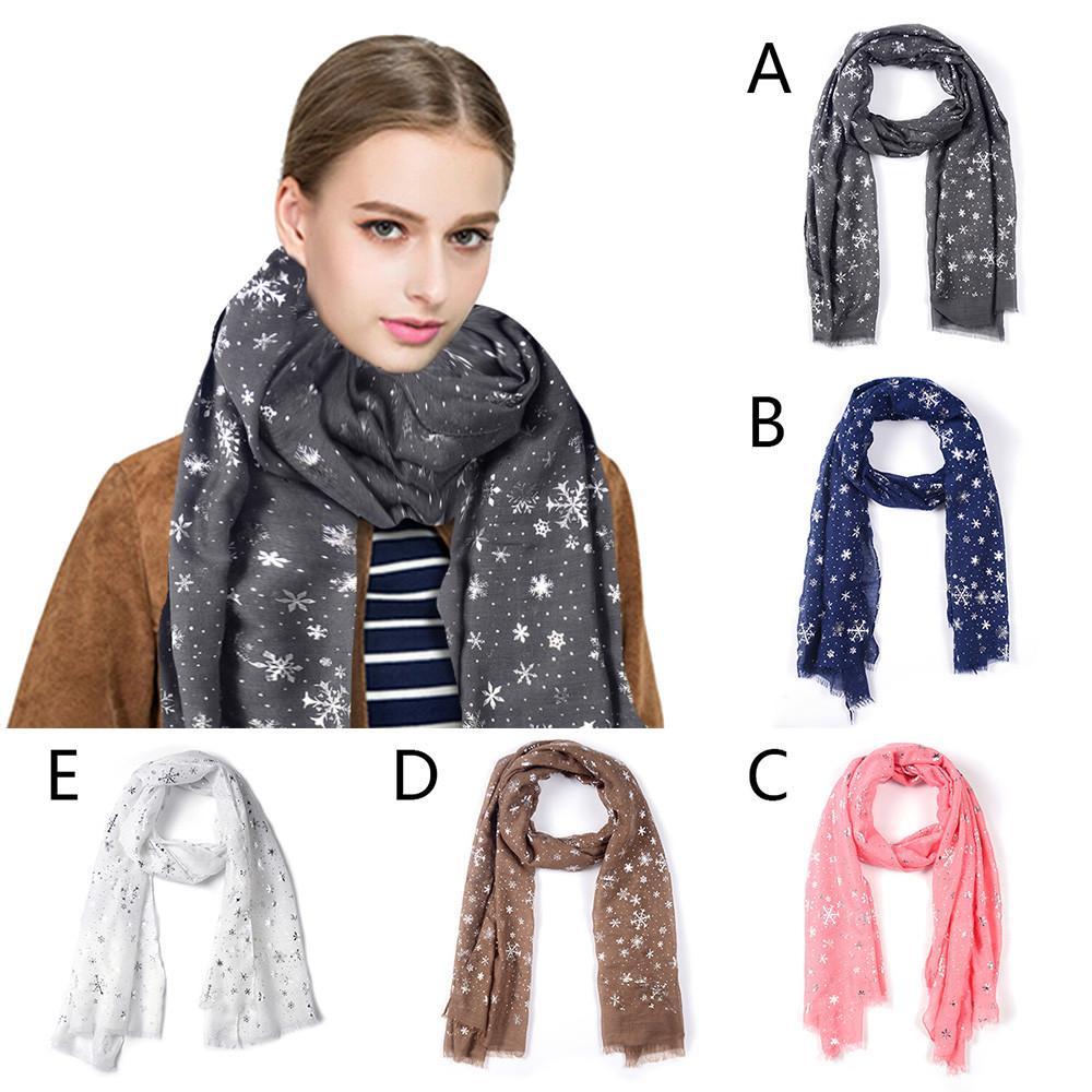 572bb05f03168 Women Silver Snowflake Scarves Autumn Winter Shawl Wraps Neck Warmer ...