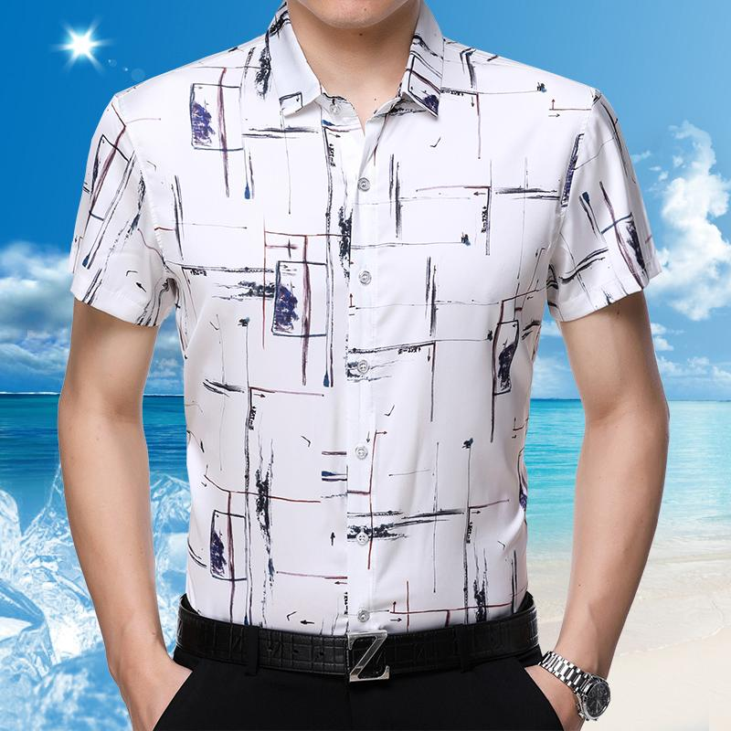 df703058 2018 new summer mens floral printed silk shirt male casual short sleeve  stripes satin silk dress