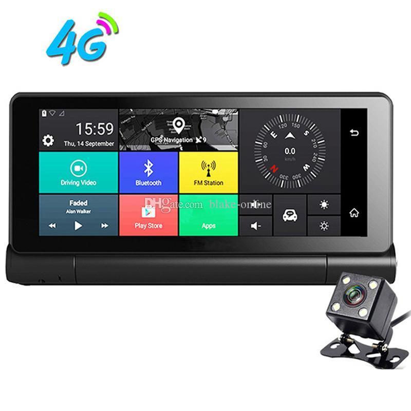 Global 4G 7 pulgadas 1080 P Android WIFI Coche DVR Bluetooth AVIN Navegación GPS con doble lente Videocámara Tablero de instrumentos Grabador de video