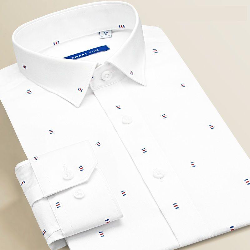 8e0176603b70 Compre Smart Cinco Formal Camisas Dos Homens De Manga Longa De Algodão Camisa  Masculina Slim Fit Branca Social Branca 2019 Primavera Verão Plus Size De  ...