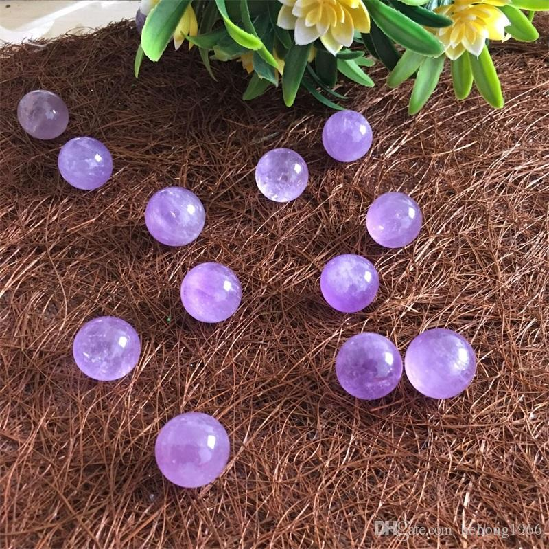 Glossy Purple Healing Crystals Fengshui Amethyst Ball Ornament Round Bead Pellet Jewelry accesso Energy Spar Geomantic Omen Hot Sale 3 5xjC1