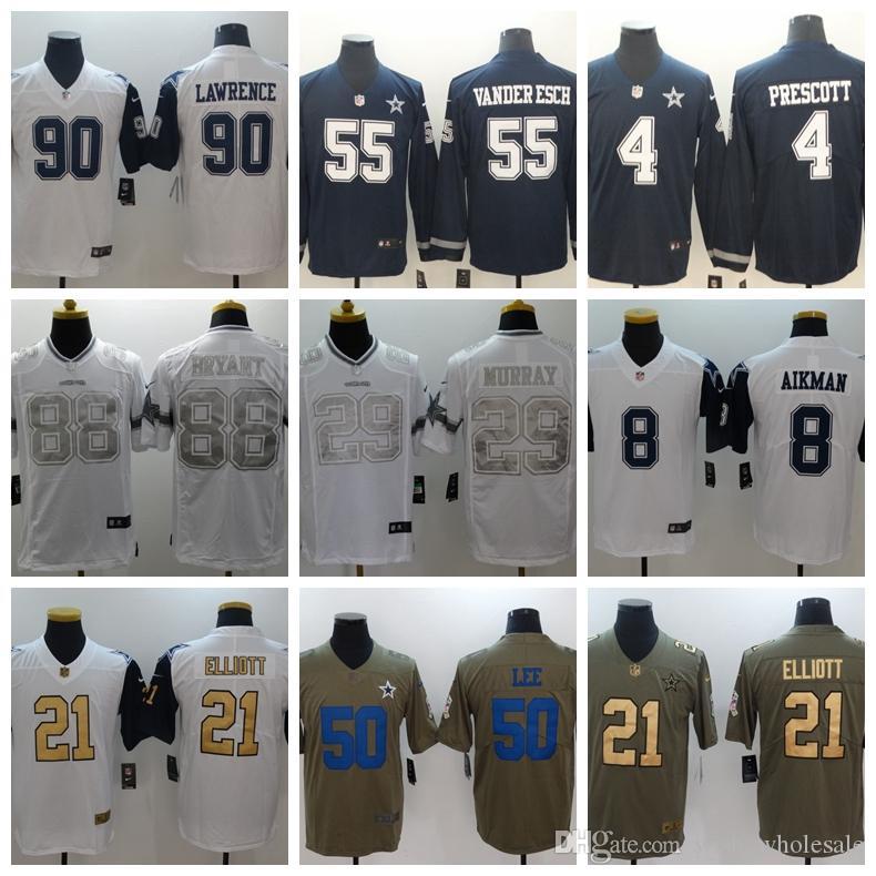big sale 6c035 34e0e Dallas 2018 New Cowboys Jerseys 82 Jason Witte 90 DeMarcus Lawrence 88 Dez  Bryant Men's Jersey Embroidery Top sale