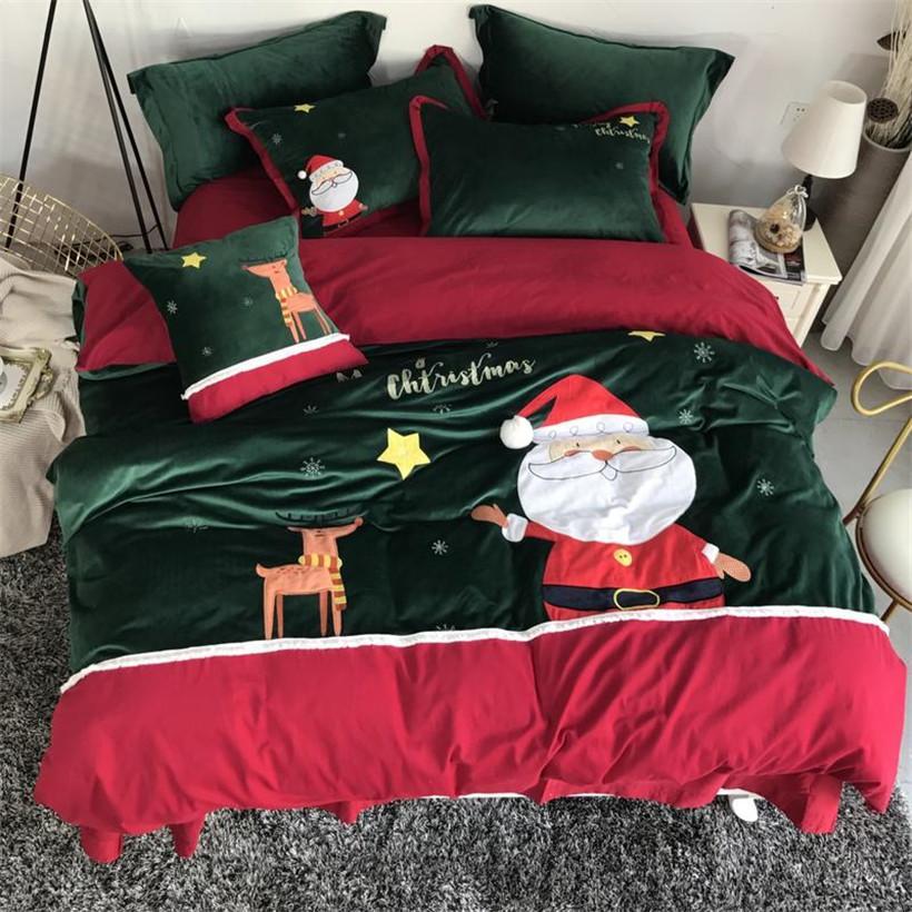 Großhandel Dicker Baumwoll Weihnachtsbettwäsche Set Queen Size Bett